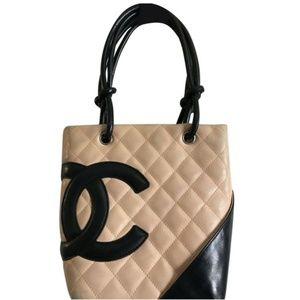 Chanel Cambon Small Handbag Tan/Black Leather Tote